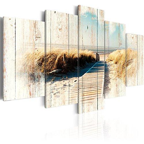 Meer Landschaften (murando - Bilder 200x100 cm Vlies Leinwandbild 5 TLG Kunstdruck modern Wandbilder XXL Wanddekoration Design Wand Bild - Holz Strand Landschaft Natur Meer c-C-0029-b-o)