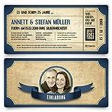 80 x Silberhochzeit Hochzeitseinladungen silberne Hochzeit Einladungskarten individuell - Vintage Brautpaar Blau