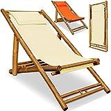 Deuba® Liegestuhl | 3-Fach höhenverstellbar | Weiches Kopfkissen | massiver Bambus | klappbar | Sonnenliege Bambusliege Gartenliege Strandliege Liege Stuhl - beige