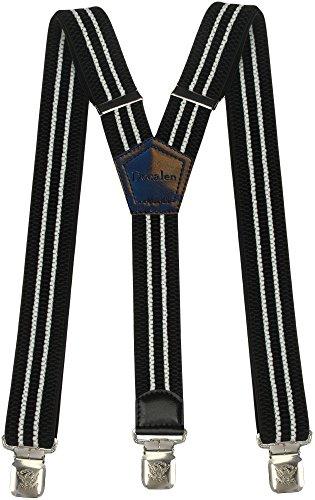 Hosenträger für Herren breit extra starken 4 cm mit 3er Clips Y-Form lange für Männer und Damen Hose (Schwarz und Weib)
