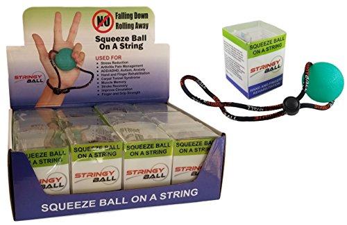 stringyball estrés pelota en una cadena–para alivio de tensión, ejercicio de mano, fortalecimiento, rehabilitación–suave, medio y firme bolas–no Falling o Ruede, 12 Single Medium Balls