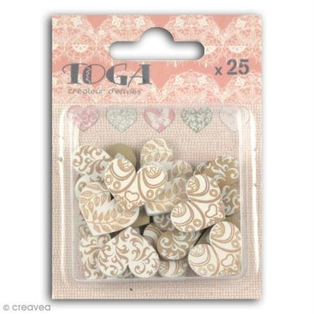(Unbekannt Toga Set 25Stück Holz Herz Formen, rosa/grau, 7X 9,5X 1,5cm)