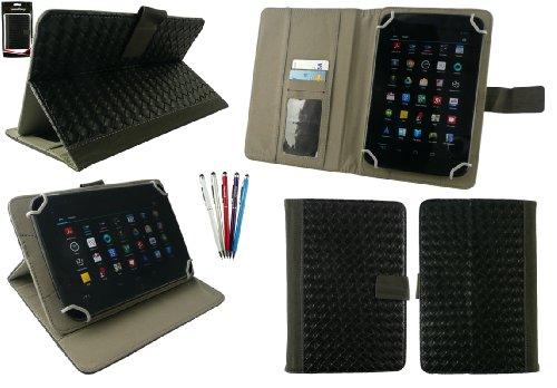 emartbuy Packung mit 5 Kugelschreiber 2 in1 Eingabestift+Universalbereich Schwarz Woven PU Leather Folio Wallet Hülle Schutzhülle mit Kartensteckplätze geeignet für I.onik TP - 1200QC(7.85 Zoll)
