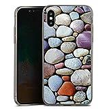 DeinDesign Apple iPhone XS Slim Case transparent anthrazit Silikon Hülle Ultra dünn Schutzhülle Kieselsteine Steine Stones