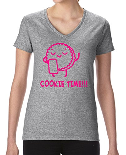 Comedy Shirts - Cookie time! Keks - Damen V-Neck T-Shirt - Graumeliert / Pink Gr. - Wanderer Cookies