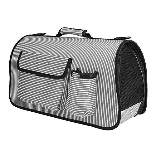 Smandy Haustier Tragetasche Hunde Transportbox Transporttasche Handtasche Tragbare Faltbare Atmungsaktive Umhängetasche Reisetasche für Hund Katze (Grau L) -
