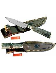 Couteau de chasse Muela Nickerson le cerf poignée en bois de cerf, cap alpaga, lame de 11 cm, poids 115 grammes + multi-usages carte-cadeau