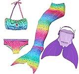 Superstar88 Mädchen Cosplay Kostüm Badebekleidung Meerjungfrau Shell Badeanzug 3pcs Bikini Sets Tolle Geschenksidee ! (140, PURPLE DREAM)