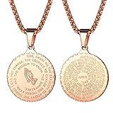 FaithHeart Herzkette mit Anhänger Gravur Bibel für Herren Männer Silber Jesus Rosegold Kette Amulett Religiöse Schmuck