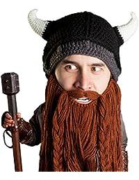 780c6546492 Beard Head Viking Pillager Beard Beanie - Funny Knit Horned Hat and Fake  Beard