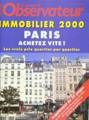 NOUVEL OBSERVATEUR (LE) [No 1846] du 23/03/2000 - IMMOBILIER 2000 - PARIS. par Collectif