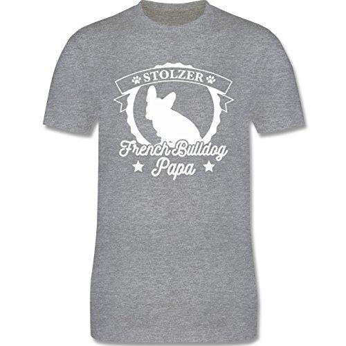Shirtracer Hunde - Stolzer French Bulldog Papa - Herren T-Shirt Rundhals Grau Meliert