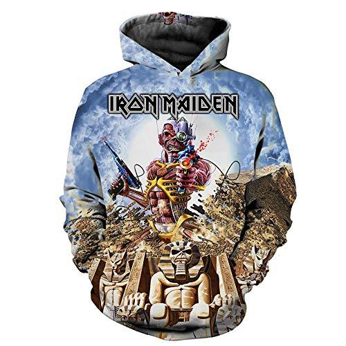 Sudaderas con Capucha,Iron Maiden Estampado En 3D Heavy Metal Rock, Gran Sudadera con Capucha@Azul_2XL