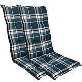 Diluma Hochlehner Auflage Naxos für Gartenstühle 2er Set 118x49 cm Karo Dunkelblau - 6 cm Starke Premium Stuhlauflage mit Komfortschaumkern - Sitzauflage Made in EU