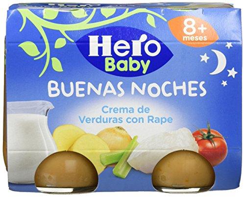 Hero Baby Buenas Noches Crema de Verduras con Rape - Paquete de 2 x 190 gr - Total: 380 gr - [pack de 3]