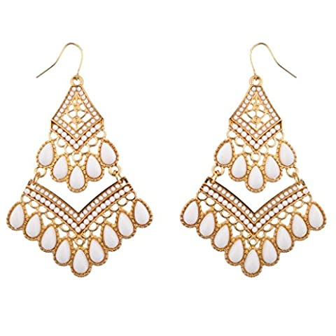 Lux Accessories White & Gold Dangle Earrings