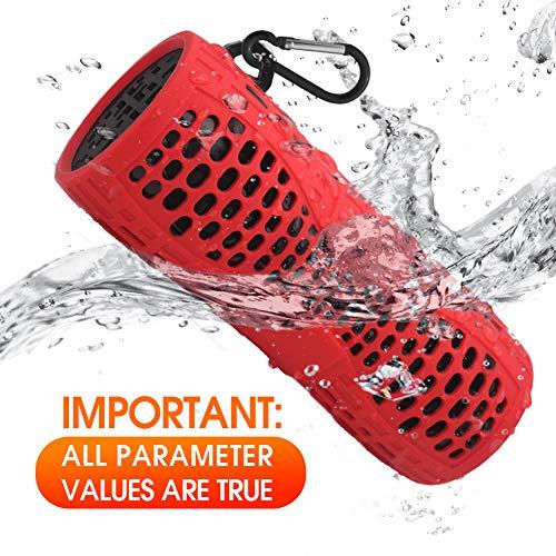 Tingda Bluetooth Lautsprecher Wasserdicht, Outdoor Tragbare IP66 Dusche Bluetooth Box, 12W bass Sound, AUX-Anschluß, Freisprechanlage, Ingebauten Mikrofons, für Fahrrad, Bad, Garten, Reisen - Rot -