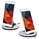 Type-C Charging Station Aluminum alloy charging station&Sync USB C Desktop Stand Cradle Station with Cables for Samsung Galaxy S8, Google Pixel XL, Nexus 6P/5X, LG G6/G5, HTC 10, Huawei P9/P10 Plus-Silver