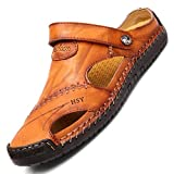 TQGOLD Hombre Mujer Sandalias de Verano Zapatos de Playa Chanclas Zapatillas de Piel de Vacuno(Amarillo Marrón,Tamaño 48)