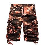 AYG Herren Cargo Shorts Bermudas Schwarz Baumwolle Shorts Wandern 29-40, A083 Tarnrot, W36(DE 52/XL)/Taille:91-94cm