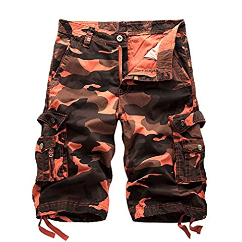 AYG Homme Cargo Short Militaire Camo Shorts 29-40, Rouge 2, W34(FR 44)/34'Taille