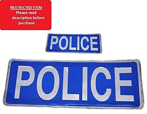 Blue POLICE Reflective Badge Set with Hook + Loop