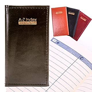 Executive Padded Address Book - Slim A-Z Index/Organiser with Leather Look