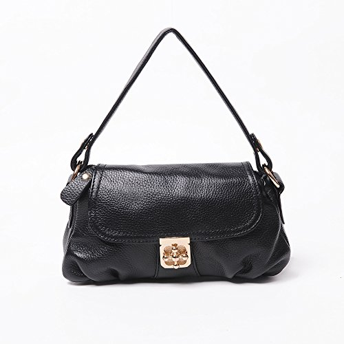 Chlln Die Erste Schicht Leder Handtasche Schulter 2017 Neue Kleine Baotou Rindsleder Retro - Ms. Black