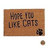 Relaxdays Felpudo Exterior Antideslizante Hope You Like Cats, Fibra de Coco-PVC, Natural-Negro, 40 x 60 cm