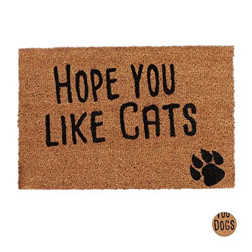 Relaxdays Fußmatte mit Spruch, Hope You Like Cats, Katzenmotiv, Kokosfasern, Außen & Innen, Fußabtreter 40x60 cm, Natur