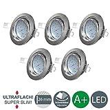 B.K.Licht Ultra Flach LED Einbaustrahler - warmweiß - inkl. 5 x 5W Modul 230V 400lumen - Schwenkbar Einbauspots Einbauleuchten - 5er Pack (matt-nickel-Rund)