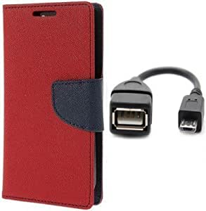 Generic Goospery Mercury Diary Flip Cover for Micromax Canvas Xpres 2 E313 (Red)