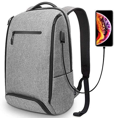 Mochila Hombre de Viaje, Mochila de Ordenador con Puerto USB y Bolso Antirrobo, Mochila para Portátil hasta 15.6 Pulgadas -...