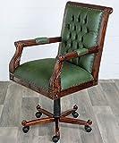 MOREKO Chesterfield Drehstuhl Antik-Stil Bürostuhl Massiv-Holz Mahagoni höhenverstellbarer Schreibtisch-Stuhl grün
