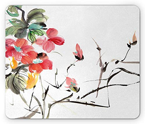 Drempad Gaming Mauspads, Japanese Mouse Pad, Popular Early Period Asian Watercolors Print with Vivid Floral Motifs Art Picture, Standard Size Rectangle Non-Slip Rubber Mousepad, Multicolor - Asian Floral Print