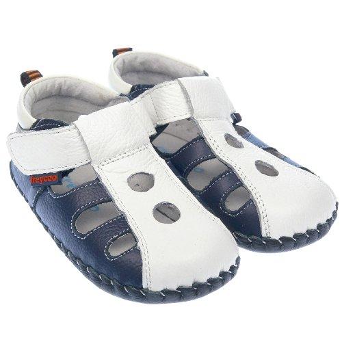 Freycoo-Boys Baby scarpe sandali da bambine in vera pelle con suola morbida, colore: blu Navy e bianco, blu (Blue), 06-12 Mesi Guida alle taglie 115 mm