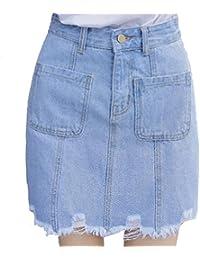 Casual   einfache Löcher in der Jeans-Rock mit hoher Taille Rock eine Linie  Rock 52f2f5ddae
