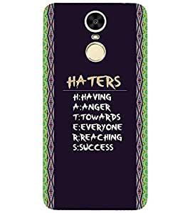 For Huawei Enjoy 6 haters full form, good quotes, pattern, black background Designer Printed High Quality Smooth Matte Protective Mobile Case Back Pouch Cover by APEX