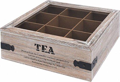 Tee Dispenser (Teekiste Holz Teebox 9 Fächern Glasdeckel Tee Kiste Teekasten Teebehälter)