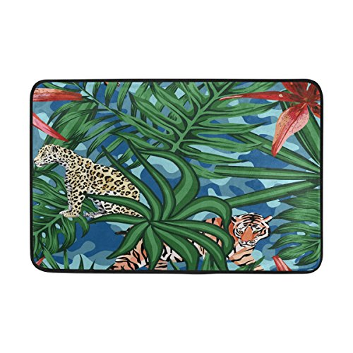 FFY Go Badteppich, Tropical Leaf Animal Print rutschfeste Antischimmel-Einfach Dry Fußmatte Teppich für Dusche Raum Badezimmer Tür Indoor Outdoor 58,4x 38,1cm (Tür-matte Animal-print)