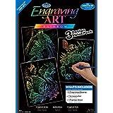 Royal & Langnickel RAIN-SET5 - Engraving Art/Kratzbilder, Tiere, DIN A4, 3-teilig Vorteilspack, regenbogenfarbe