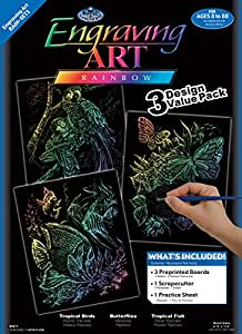 Royal & Langnickel Rainbow Engraving Art A4 Rainbow Animals Designed Painting Set (Pack of 3)