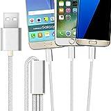 2ticks USB-C TYPE-C / Micro USB / 8 broches d'éclairage - Trois en un universel haute vitesse multifonction tressé 3 en 1 cordon de chargement 1 mètre argent pour Asus Zenfone 4