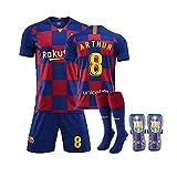 GNMM Trikot Fu?Ball Barcelona Trikot Arthur 8# Trikot Erwachsene Kinder Anzug Kurzarm + Shorts + Socken Fu?Ball Uniform(4 Stück)