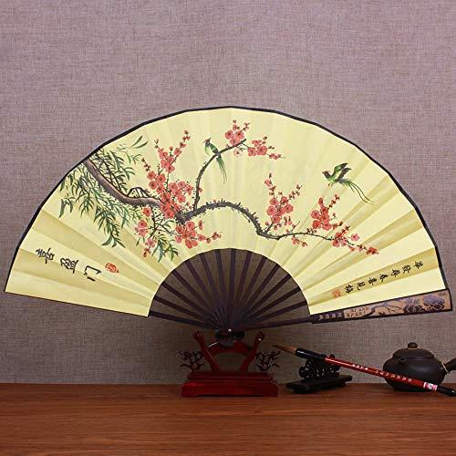 Kostüm Tierische - XIAOHAIZI Handfächer,Sommerbambusfan Pflaumenblume, Faltender Fan des Geschenks Der Tierischen Gelben Retro- Männer Der Chinesischen Art Für Hauptwanddekoration