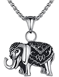 Stainless Steel Thai Elephant Pendant Necklace with 2.5mm Round Link Chain G2022QY
