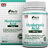 Hyaluronic Acid 300mg | 90 Capsules (3 Month Supply) | Triple Strength of Many Brands by Nu U Nutrition