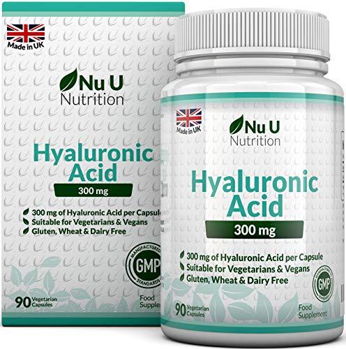 Acido ialuronico 300mg | 90 capsule (scorta per 3 mesi) | il triplo del dosaggio rispetto ai marchi concorrenti | prodotto da nu u nutrition