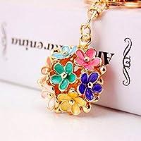 Yunfeng Cute Keychain Five-leaf flower small daisy flower Keychain female bag metal key chain Pendant