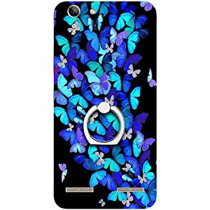 Casotec Butterfly pattern Design 3D Printed Hard Back Case Cover with Metal Ring Kickstand for Lenovo Vibe K5 Plus